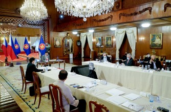 President Rodrigo Roa Duterte delivers his remarks during the plenary session of the virtual 38th and 39th Association of Southeast Asian Nations (ASEAN) Summits and Related Summits hosted by Brunei Darussalam at the Malacañang Palace on October 26, 2021. KING RODRIGUEZ/ PRESIDENTIAL PHOTO