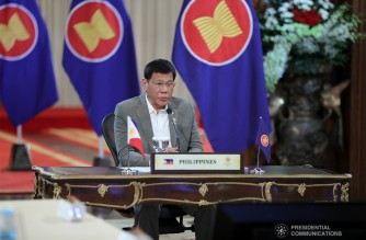 President Rodrigo Roa Duterte delivers his remarks during the plenary session of the virtual 38th and 39th Association of Southeast Asian Nations (ASEAN) Summits and Related Summits hosted by Brunei Darussalam at the Malacañang Palace on October 26, 2021. ARMAN BAYLON/ PRESIDENTIAL PHOTO