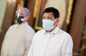 President Rodrigo Roa Duterte during the presentation of credentials of eight new ambassadors to the Philippines at the Malacañang Palace on October 20, 2021. RICHARD MADELO/ PRESIDENTIAL PHOTO