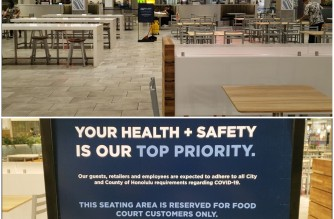 (FILE) Shopping malls like this one outside Honolulu continue to require patrons to comply with the city's health and safety guidelines in order to dine at their food courts. (Photos by Alfred Acenas, EBC Hawaii-Pacific)