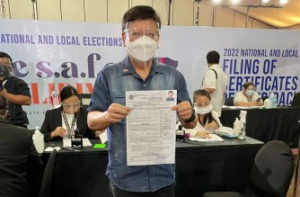 House Deputy Speaker Sagip Partylist Rep. Rodante Marcoleta files his certificate of candidacy to run for the senate in 2022 under the ruling party, PDP-Laban. (Alternative crop of contributed photo/Courtesy Paolo Marcoleta)