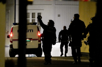 Screengrab from AFP/NTB photo showing police presence after a man armed with a bow and arrows killed several people and wounded others in southeastern Norway