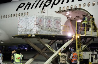 The Philippines received on Sunday, October 24, its 100th shipment of COVID-19 vaccines consisting of 3 million doses of Sinovac vaccines. (Courtesy NTF Against COVID-19)