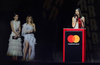 British actress and model Millie Bobby Brown (L) and Australian singer Kylie Minogue look on as British singer-songwriter Dua Lipa (R) collects the award for British female solo artist during the BRIT Awards 2018 ceremony and live show in London on February 21, 2018. / AFP PHOTO / Daniel LEAL-OLIVAS / RESTRICTED TO EDITORIAL USE – NO POSTERS – NO MERCHANDISE– NO USE IN PUBLICATIONS DEVOTED TO ARTISTS